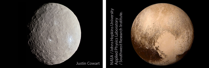 (left) Pluto (dwarf planet). (right) Eris (dwarf planet).